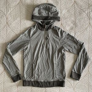 LULULEMON Grey and Striped Pullover Hoodie